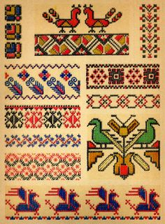 ukrainian folk embroidery: Ukrainian Folk Embroidery, I. F. Krasyts'ka, 1960, plate 14, embroidery from clothing and household linens, plate 15, embroidery from children's clothing, plate 16 embroidery from tablecloths