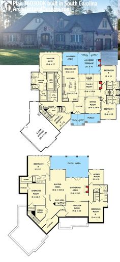 Architectural Designs House Plan comes to life in South Carolina. Architectural Designs House Plan comes to life in South Carolina. Where do YOU want to build? by maryanne New House Plans, Dream House Plans, House Floor Plans, My Dream Home, Dream Homes, 6 Bedroom House Plans, Basement Floor Plans, Home Design Floor Plans, Architectural Design House Plans