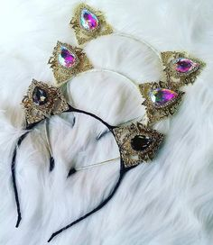 Kitty Ears Couture Rhinestone Cat Ears Headband little girls gift childs ears Cat Ears Headband, Ear Headbands, Couture Accessories, Girls Accessories, Cat Valentine Victorious, Sam And Cat, Little Girl Gifts, Crystal Headband, Old Jewelry
