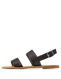 Bamboo Perforated Flat Slingback Sandals: Charlotte Russe