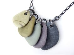 soft colours of natural-stone-jewelry-purple-to-green- Rock Necklace, Rock Jewelry, I Love Jewelry, Diy Necklace, Pendant Jewelry, Jewelry Making, Necklaces, Bohemian Jewelry, Stone Necklace