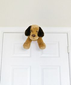 Brown Dog Door Friend by My Door Friends. This plush pal hangs out on the door to keep kids company and prevent slamming. Fluffy, friendly and way more adorable than a regular door stopper, this playful buddy protects walls from doorknobs and fingers from painful pinches $12.99 [Photo] http://mcdn.zulilyinc.com/images/cache/product//87085/zu7221129_alt_3_tm1402532698.jpg