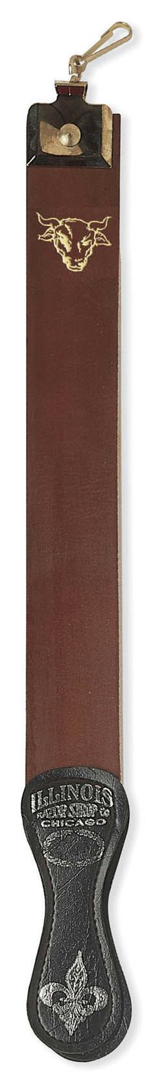 "1907 2.5"" x 23"" Top grain cowhide Razor Strop. Handcrafted, exceptional quality made in the United States of America. Complete with sharpening canvas and swivel.  http://www.frommbeauty.com/shop/product/"