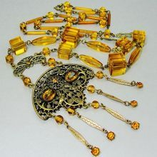 Massive 1920s's Necklace Czech Topaz Glass Flapper Sautoir Gilt Brass Filigree Cube Beads Open Back Crystals
