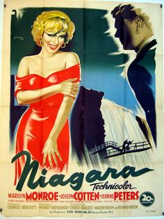 """""""Niagara"""". Marilyn Monroe, Joseph Cotton and Jean Peters. Directed by Henry Hathaway. Spanish poster, 1953."""