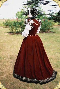 1569 Crimson Velvet Doublet Gown - Isabella's Frocks: Leaves From An Album