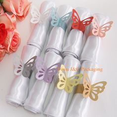 FREE SHIPPING-- 50pcs of Metallic Butterfly Paper Napkin Ring/Wrap, Weddings Party Home Decoration, Table Decoration (JCO-557)