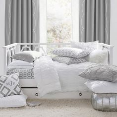 PB Teen Elsie Daybed Trundle, Twin, Simply White at Pottery Barn Teen - Teen Beds - Kids Bedroom Furniture Sets Trundle Mattress, Daybed With Trundle, Ikea Daybed, Girls Daybed, Girls Bedroom, White Bedroom, Teen Bedrooms, Dream Bedroom, Kids Bedroom Furniture