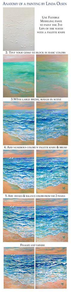 Painting lesson, tutorial, beach painting http://olsenartnews.wordpress.com