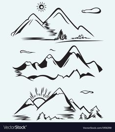 Mountain range isolated on blue background , Free Clipart Images, Art Clipart, Free Vector Art, Mountain Range Tattoo, Mountain Tattoos, Cycle Drawing, Cute Ankle Tattoos, Mountain Drawing, Stencil Templates