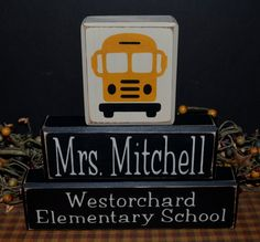 School bus custom personalized primitive wood blocks sign signs gift driver office nameplate rustic distressed wooden stacking blocks shelf sitter by PrimitiveHodgePodge on Etsy