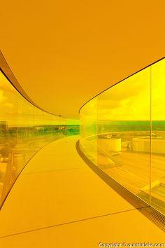 Your Rainbow Panorama, a Rainbow-coloured glass walkway on the roof of the Danish art museum ARoS Aarhus Kuntsmuseum, by Danish-Icelandic artist Olafur Eliasson. Opened 28 May, 2011 Mellow Yellow, Neon Yellow, Orange Yellow, Yellow Sun, Colour Yellow, Pastel Yellow, Mustard Yellow, Rainbow Aesthetic, Aesthetic Colors