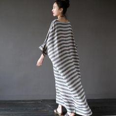 Extravagant Stripe Dress Cotton Lin..