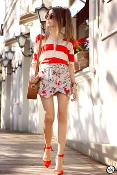 mix of prints: stripes and floral