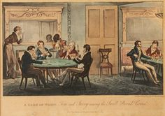 """A Game of Whist - Tom and Jerry among the Swell """"Broad Coves"""". Etching by Isaac Robert & George Cruikshank, hand-col.; pub Sherwood, Neely & Jones, 1 January 1821 for Pierce Egan's Life in London, 'a faithful Portraiture of High & Low life' from the West End to the East End. Pub. monthly.Tom, Jerry, & Logic well-heeled young men about town, keen to see 'a bit of life' in London's poorer districts. Their escapades largely autobiographical, drawn from the lives of Egan + Cruikshanks"""