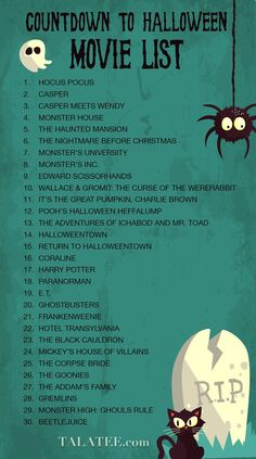 Countdown to Halloween Movie List What a fun idea to get the kids excited for Halloween.besides candy. Halloween costumes Halloween decorations Halloween food Halloween ideas Halloween costumes couples Halloween from brit + co Halloween Halloween Tags, Halloween 2018, Halloween Movies List, Feliz Halloween, Holidays Halloween, Halloween Crafts, Halloween Decorations, Kid Friendly Halloween Movies, Halloween Countdown