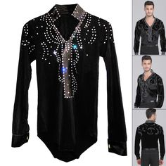 US $45.60 / piece Man Latin Ballroom Dancing Dresses Top High-Grade Velvet Dance Wear Drilling Boy Clothes For Dancing Men Dance Exercise Shirt