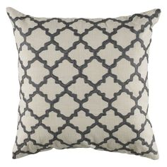 Rizzy Home Embroidered Trellis Pattern Decorative Throw Pillow Ivory - T04064