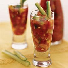 Serve this easy, 3-ingredient gazpacho in tall shot glasses garnished with cucumber sticks for an eye-catching appetizer.