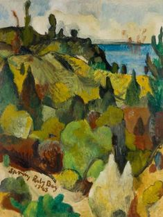 Artist:Colin McCahon Title:Spring, Ruby Bay Production Medium:oil on cardboard Size x 459 mm Inscription:Spring Ruby Bay 1945 (l.) Credit Line:Auckland Art Gallery Toi o Tāmaki, purchased 1986 Accession Nz Art, Art For Art Sake, Abstract Landscape, Landscape Paintings, Auckland Art Gallery, New Zealand Landscape, New Zealand Art, Great Paintings, Art Icon