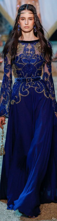 086d4664a6d3d Fall 2017 Haute Couture Elie Saab Chemisier Bleu Marine, Robes Longues Bleu,  Robe Longue