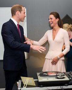 This duo made an excellent pair, spinning records in a blue suit and plunging pink Alexander McQueen look. #KateMiddleton