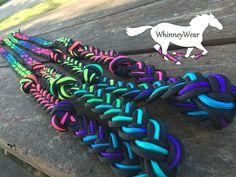 Rainbow ombré braided reins Www.Whinneywear.Com