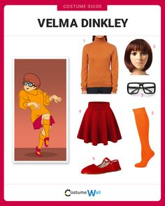 The cosplay guide for dressing up like Velma Dinkley, the nerdy member of the Mystery Crew from the TV series, Scooby-Doo, Where Are You! Scooby Doo Halloween Costumes, Velma Costume, Daphne Costume, Halloween Costumes For Teens, Family Halloween Costumes, Halloween Kostüm, Costumes For Women, Costumes Kids, Movie Character Costumes