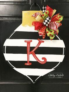 80bfa52c Ornament - Striped – AshleyNichole Designs Wooden Christmas Crafts,  Christmas Canvas, Christmas Door Decorations