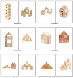 Block building cards, Copy and Paste on to cart or onto a Tri- Fold board and place in construction area Block Center Preschool, Preschool Centers, Kindergarten Classroom, Learning Centers, Montessori, Construction Area, Block Play, Grande Section, Creative Curriculum