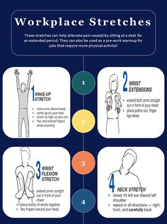 Workplace Stretches: Staying Safe and Comfortable (Infographic) West Bend, Stay Safe, Physical Activities, Workplace, Stretches, Physics, Infographic, Business, Blog