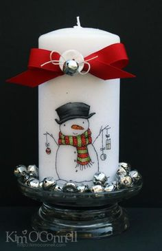 Trim the Branches Snowman Candle