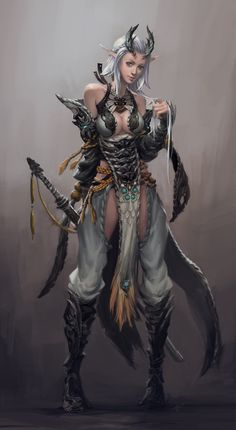 贴点老图刷刷存在感 - -··· - B文 - 指骨节奏 female elf tiefling ranger fighter armor clothes clothing fashion player character npc | Create your own roleplaying game material w/ RPG Bard: www.rpgbard.com | Writing inspiration for Dungeons and Dragons DND D&D Pathfinder PFRPG Warhammer 40k Star Wars Shadowrun Call of Cthulhu Lord of the Rings LoTR + d20 fantasy science fiction scifi horror design | Not Trusty Sword art: click artwork for source