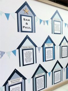 Framed Beach Hut Table Planner for Wedding or Party Reception in different shades of blue. Wedding Table Themes, Wedding Table Seating, Beach Theme Wedding Invitations, Beach Wedding Reception, Seaside Wedding, Wedding Invitation Design, Wedding Guest Book, Wedding Stationery, Wedding Ideas