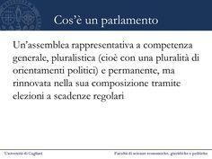 Definizione basilare di parlamento, in base alle sue caratteristiche fondamentali: natura assembleare, carattere permanente, competenze generali, mandato temporalmente definito, pluralismo interno, collegamento coi processi della rappresentanza politica
