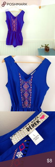 Derek Heart lapis blue romper with embroidery Cute romper with cross-stitch design. Two pockets in front. Elastic waist. One stitch has ripped, as shown in close up photo. Cute for summer! Derek Heart Shorts