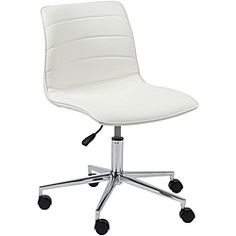 @Overstock.com - Ashton White Office Chair  - This modern style rolling white office chair is the perfect addition for any home or office. The white office chair and chrome finish offers a sleek appearance for any setting, while the foam padded leatherette seat provides the upmost comfort.  http://www.overstock.com/Home-Garden/Ashton-White-Office-Chair/6522977/product.html?CID=214117 $270.00