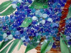 """""""Blue Basket of Hydrangeas"""" in Fused Glass and Mosaics Glass   Designer Glass Mosaics Designer Glass Mosaics"""