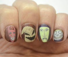 Challenge Your Nail Art Halloween theme, Day 3 - Halloween villains, featuring Oogie Boogie, Lock, Shock, and Barrel