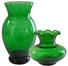 Pair of Anchor Hocking Forest Green Vases by GrannyDTreasures