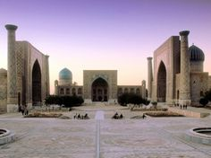 Registan in Uzbekistan, with its minarets covered in glazed tiles of calligraphy and azure-and-cobalt mosaics: Condé Nast Traveler