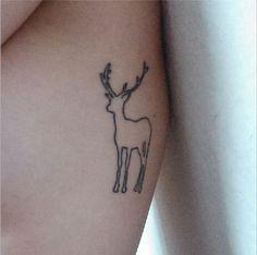 My first tattoo #Tattoo #Deer #RibcageTattoo