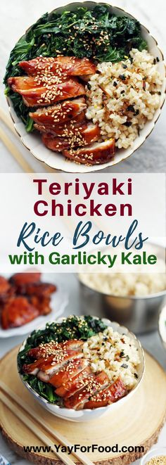 TERIYAKI CHICKEN RICE BOWLS WITH GARLICKY KALE A healthy, flavourful, and easy-to-make rice bowl with scratch-made teriyaki chicken thighs and leafy green kale with garlic! Everything is ready in less than a hour too. #ricebowls | #teriyaki | #teriyakisauce | #teriyakichicken| #chicken | #kale | #easyrecipes | #entrees |