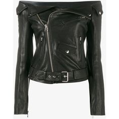 Faith Connexion Off-Shoulder Biker Jacket (240130 RSD) ❤ liked on Polyvore featuring outerwear, jackets, lambskin leather jackets, motorcycle jacket, rider jacket, moto jacket and lambskin jacket
