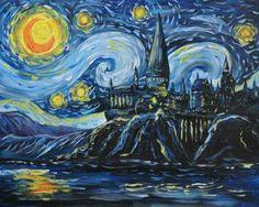Hogwarts in starry night