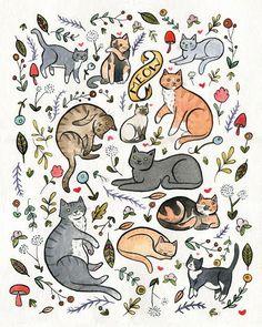 Cats and Plants Art 8 x 10 Print Cat Art Print Crazy Cat Lady Wall Art Watercolor Painting - Gatos - Katzen Crazy Cat Lady, Crazy Cats, Watercolor Pattern, Watercolor And Ink, Ink Painting, Watercolor Paintings, Cat Art Print, Plant Art, Cat Wallpaper