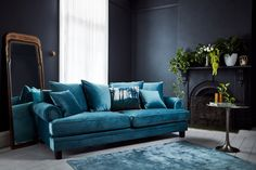 Time for Old School Glamour! - Elegance and comfort combine when you combine turquoise velvet, our best selling Lisette sofa and a dark, moody setting.