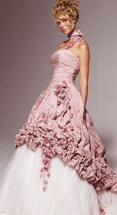 Pink wedding gown.