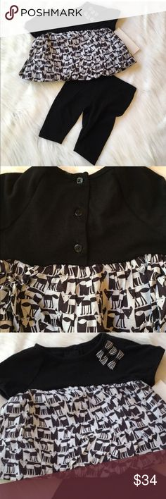 """Pippa & Julie Set This is a NWT Pippa & Julie black and white fox print dress and legging set. Dress had skirted bubble hem with a back button closure. Materials are a cotton, poly, spandex blend. Leggings are a stretchy solid black. Materials are a poly, spandex blend. ⚜Please see my """"reasonable offers"""" listing at the top of my page before submitting an offer⚜Thank you Pippa & Julie Matching Sets"""