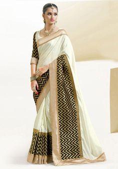 Cream and Golden Art Silk Saree